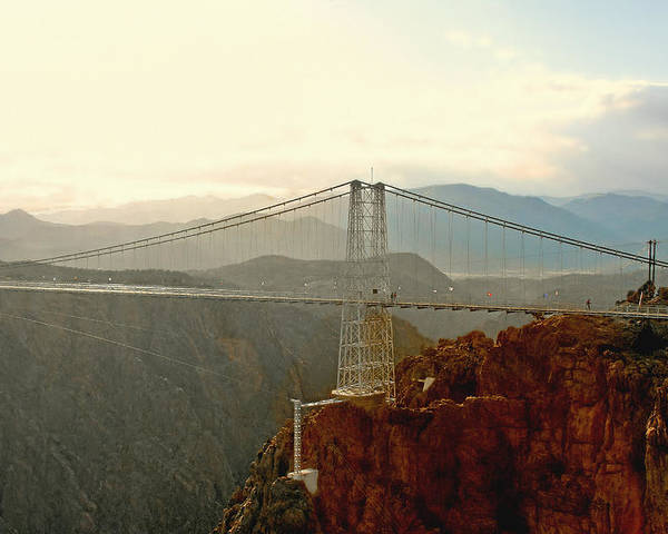 Suspension Bridge Poster featuring the photograph Royal Gorge Bridge Colorado - Take A Walk Across The Sky by Christine Till