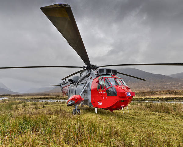 Search And Rescue Poster featuring the photograph Royal Navy Sar Sea King Xz920 Glencoe by Gary Eason
