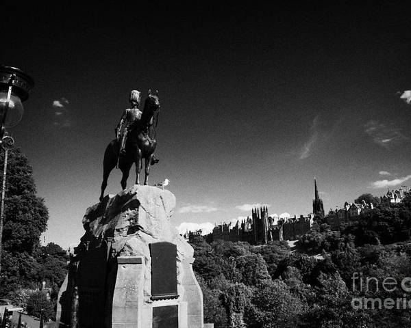 Princes Poster featuring the photograph Royal Scots Greys Boer War Monument In Princes Street Gardens Edinburgh Scotland Uk United Kingdom by Joe Fox