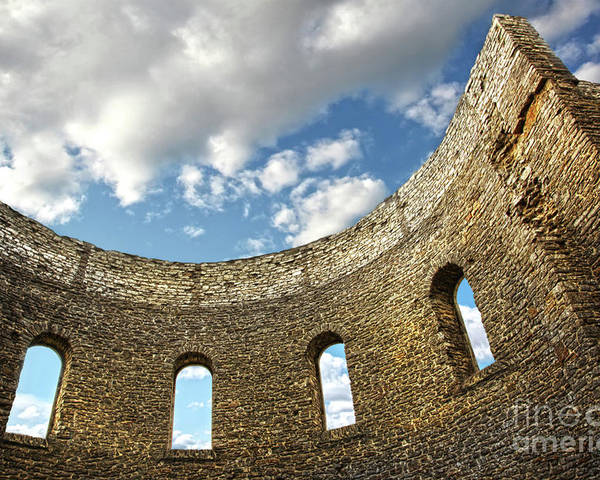 Architecture Poster featuring the photograph Ruin Wall With Windows Of An Old Church by Sandra Cunningham