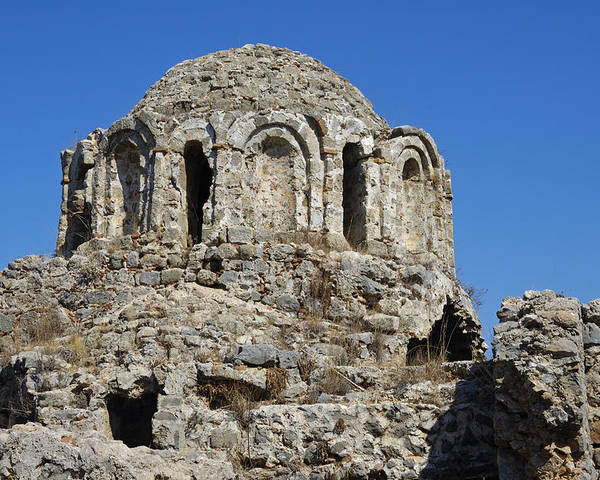 Basilica Poster featuring the photograph Ruins Of Byzantine Basilica Alanya Castle Turkey by Matthias Hauser