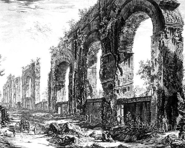 Architecture Poster featuring the photograph Ruins Of Roman Aqueduct, 18th Century by Photo Researchers