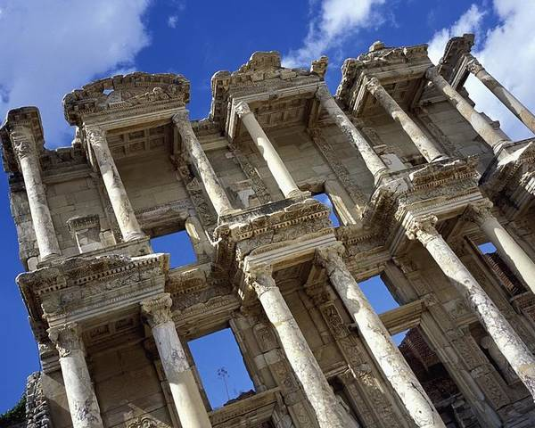 Turkey Poster featuring the photograph Ruins Of The Great Library At Ephesus by Axiom Photographic