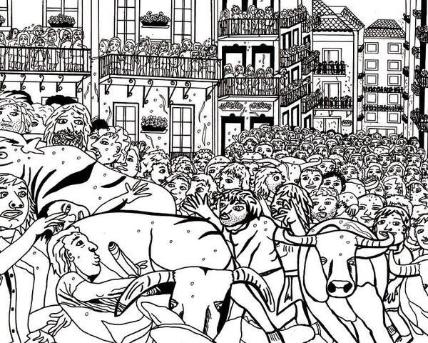 Running Of The Bulls Poster featuring the drawing Running Of The Bulls 3 by Karen Elzinga