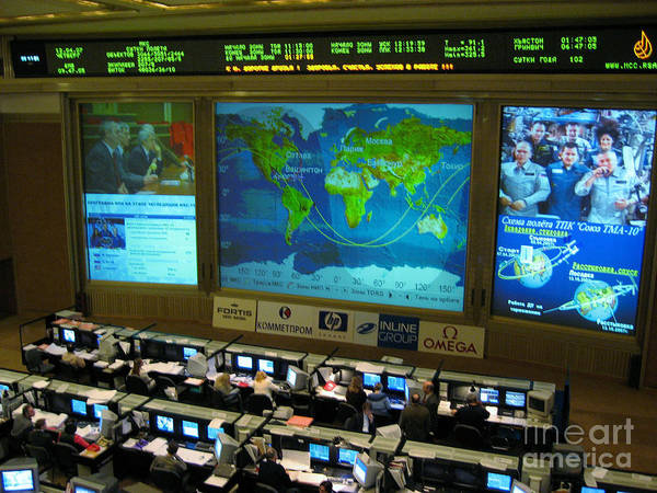 Nasa Poster featuring the photograph Russian Mission Control Center by Nasa