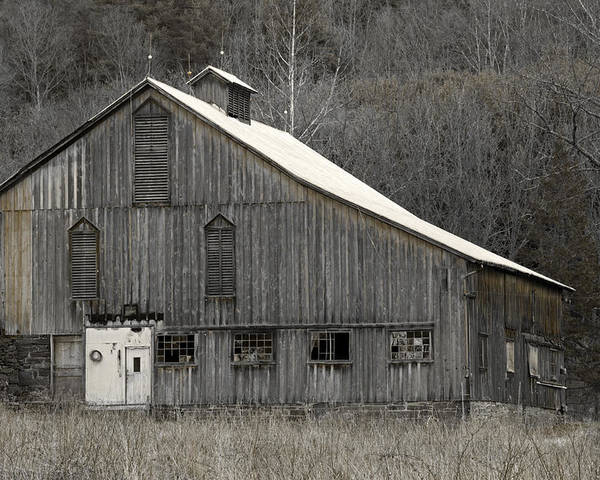 Tin Poster featuring the photograph Rustic Weathered Mountainside Cupola Barn by John Stephens
