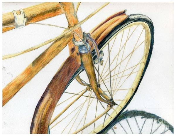Drawing Poster featuring the drawing Rusty Beach Bike by Norma Gafford