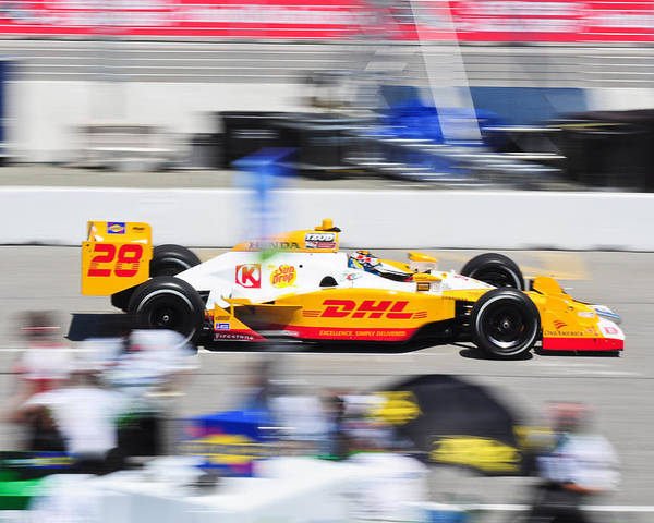 Ryan Hunter-reay Poster featuring the photograph Ryan Hunter-reay Exiting Pit Road by Jarvis Chau