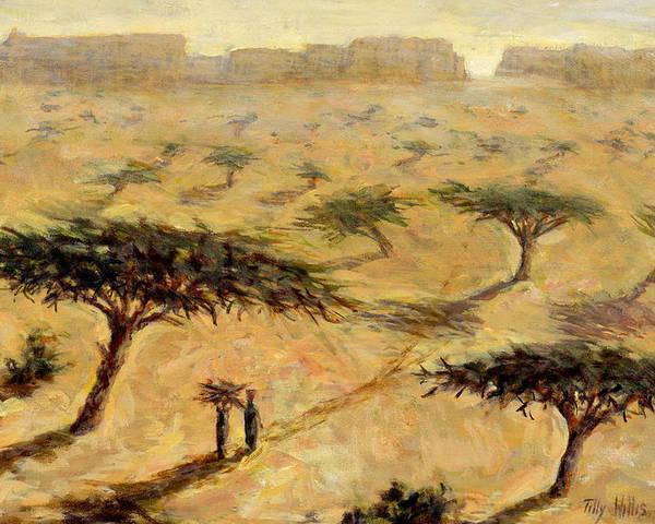 African; Arid; Tree; Acacia Trees; Plain; Plains; Barren; Dry; Shadows; Heat; Hot; Desert; Heat; Landscape; Sahelian; Acacia; Africa Poster featuring the painting Sahelian Landscape by Tilly Willis