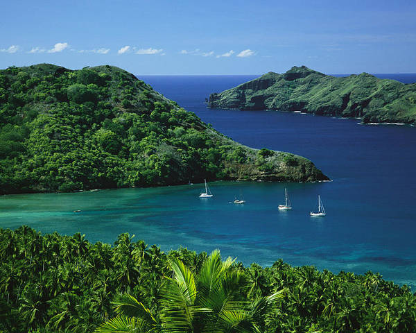 Outdoors Poster featuring the photograph Sailboats Anchored In A Cove Of Blue by Tim Laman