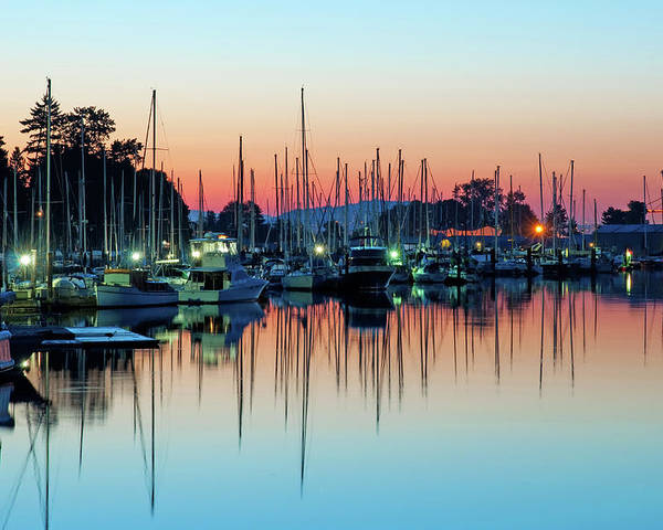 Horizontal Poster featuring the photograph Sailing Boats In Coal Harbour by Dean Bouchard (Being There Photography)