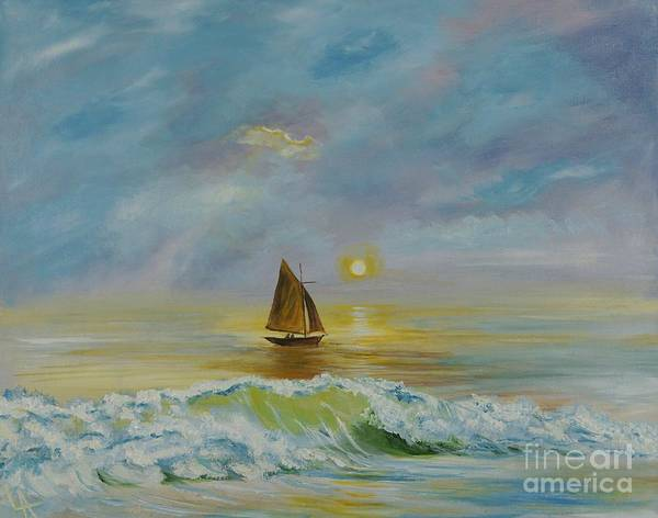Sailboat Poster featuring the painting Sailing The Ocean Blue by Leslie Allen