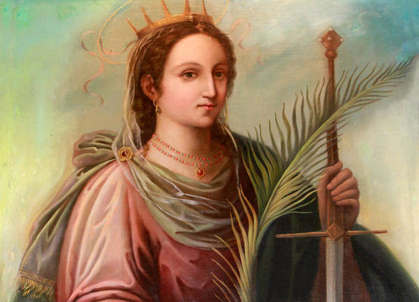 Saint Poster featuring the photograph Saint Catherine Of Alexandria Painting by Munir Alawi