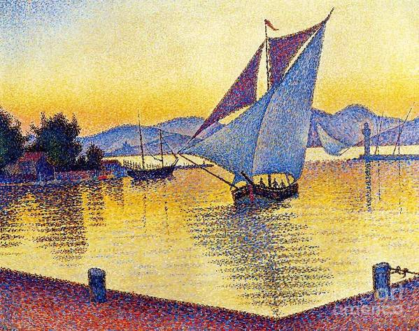 Pd Poster featuring the painting Saint Tropez At Sunset by Pg Reproductions