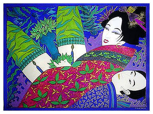 Erotic Poster featuring the painting Samurai And Geisha Pillowing by Dulcie Dee