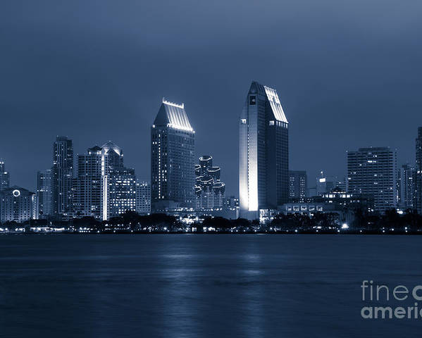2012 Poster featuring the photograph San Diego At Night by Paul Velgos