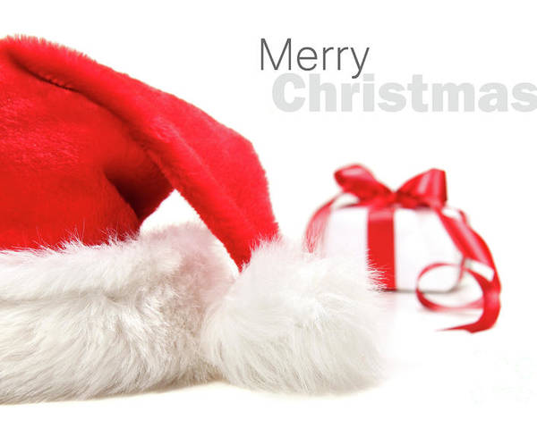 Cap Poster featuring the photograph Santa Hat And Gift With Red Bow by Sandra Cunningham