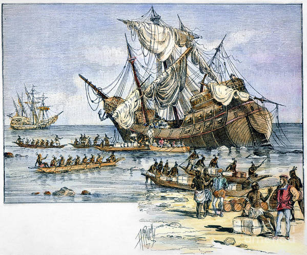 1492 Poster featuring the photograph Santa Maria: Wreck, 1492 by Granger