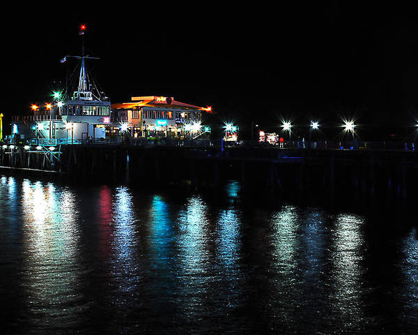 Water Poster featuring the photograph Santa Monica Pier After Dark by Yulia