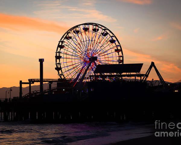 America Poster featuring the photograph Santa Monica Pier Ferris Wheel Sunset by Paul Velgos