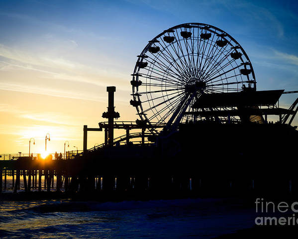 America Poster featuring the photograph Santa Monica Pier Ferris Wheel Sunset Southern California by Paul Velgos