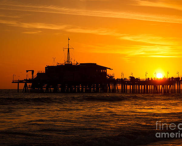 America Poster featuring the photograph Santa Monica Pier Sunset by Paul Velgos
