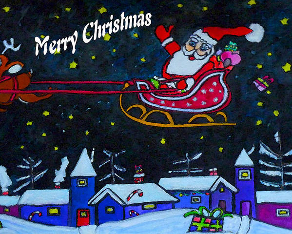 Santa Poster featuring the drawing Santas Sleigh Ride by Monica Engeler