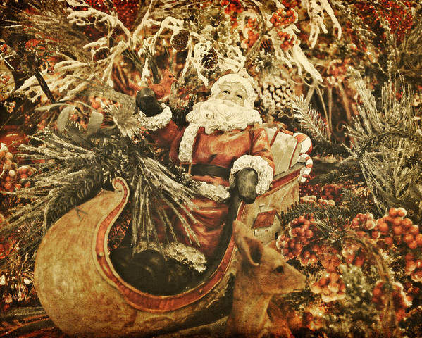 Santa Poster featuring the photograph Santa's Vintage Memories by Toni Hopper