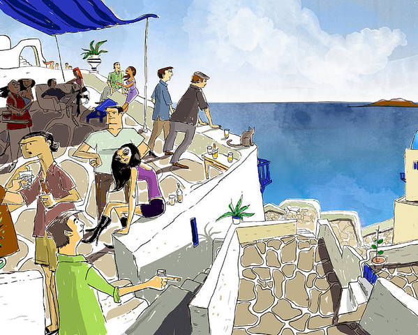 Santorini Poster featuring the painting Santorini Rooftop by Sean Hagan