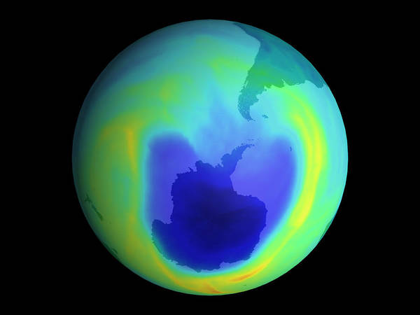 Ozone Depletion Poster featuring the photograph Satellite Map Of Antarctic Ozone Depletion, 1999 by Nasa
