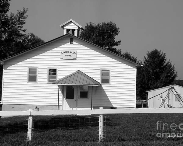 School House Poster featuring the photograph School House In Black And White by Yumi Johnson