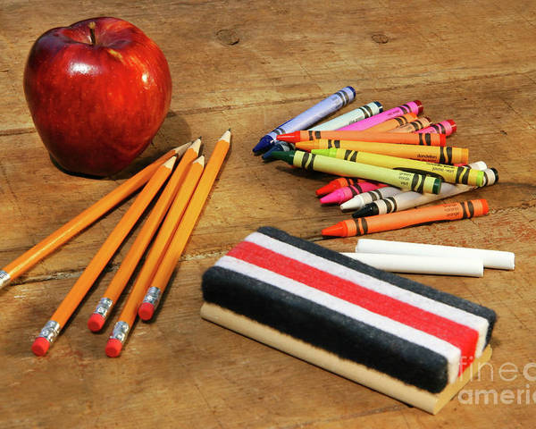 Apple Poster featuring the photograph School Supplies by Sandra Cunningham