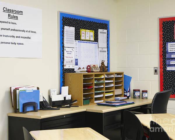 Accomplish Poster featuring the photograph School Teachers Desk by Skip Nall