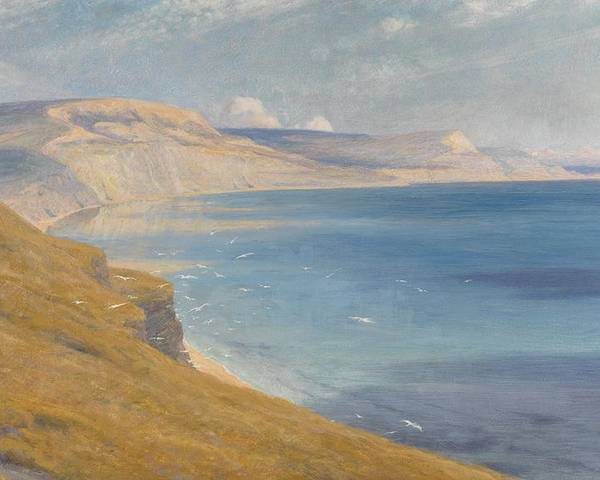Coastal; Coast; Landscape; Seascapes Poster featuring the painting Sea And Sunshine  Lyme Regis by Sir Frank Dicksee