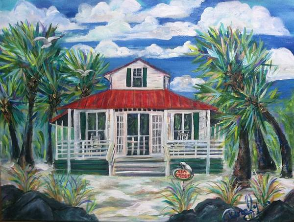 Sea Crest Cottage Poster featuring the painting Sea Crest by Doralynn Lowe
