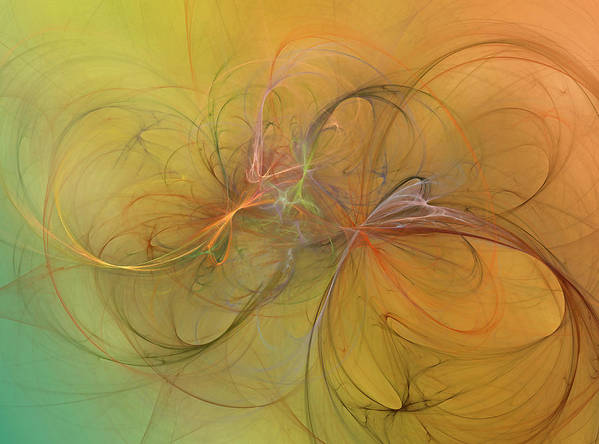 Fractal Poster featuring the digital art Sea Grass Sunset by Betsy Knapp
