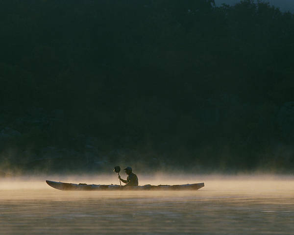 North America Poster featuring the photograph Sea Kayak Silhouette On Potomac River by Skip Brown