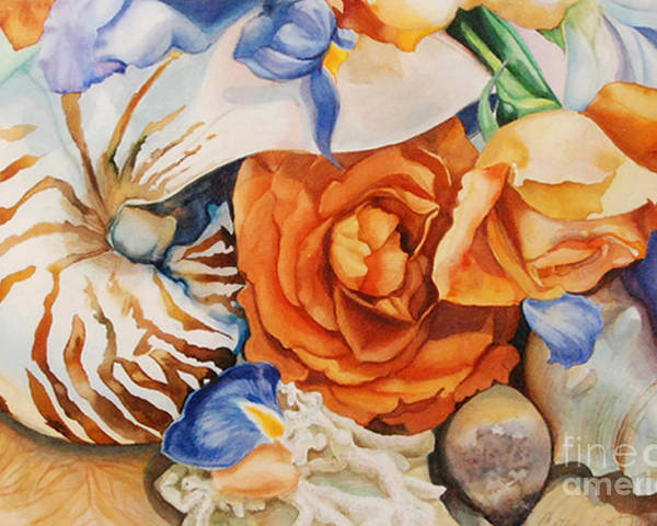 Original Watercolor Poster featuring the painting Sea Petals by Catherine Moore