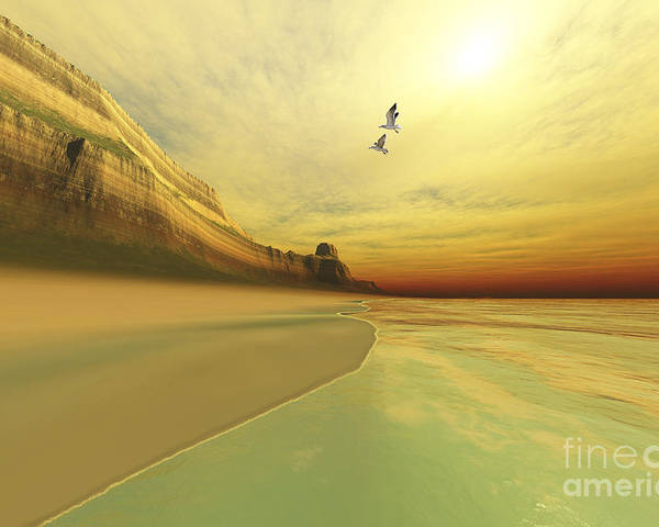 Beach Poster featuring the digital art Seagulls Fly Near The Mountains Of This by Corey Ford