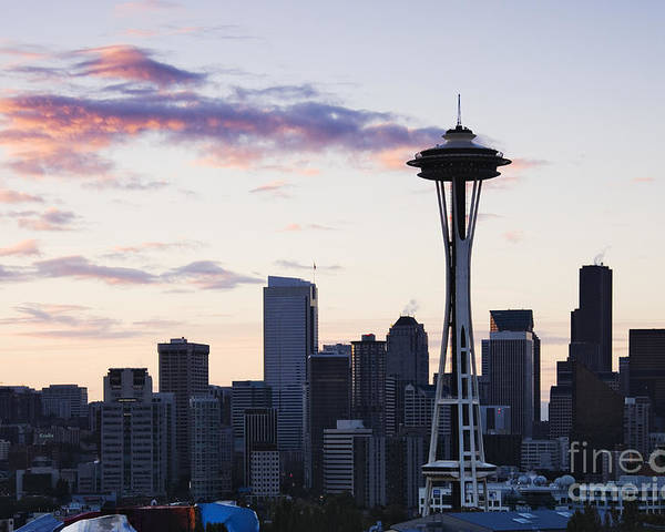 Apartment Poster featuring the photograph Seattle Skyline At Dusk by Jeremy Woodhouse