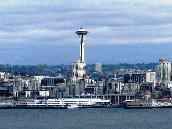 Waterfront Poster featuring the photograph Seattle Washington Skyline With Space Needle by Judyann Matthews
