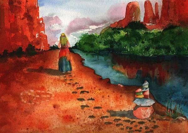 Sedona Spiritual Vortex Encounter Poster featuring the painting Sedona Arizona Spiritual Vortex Zen Encounter by Sharon Mick