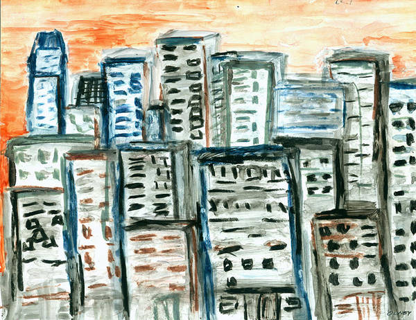Buildings Poster featuring the painting Segments by Carolyn Olney