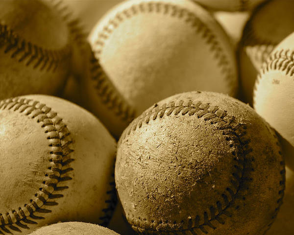 Can Of Corn Poster featuring the photograph Sepia Baseballs by Bill Owen