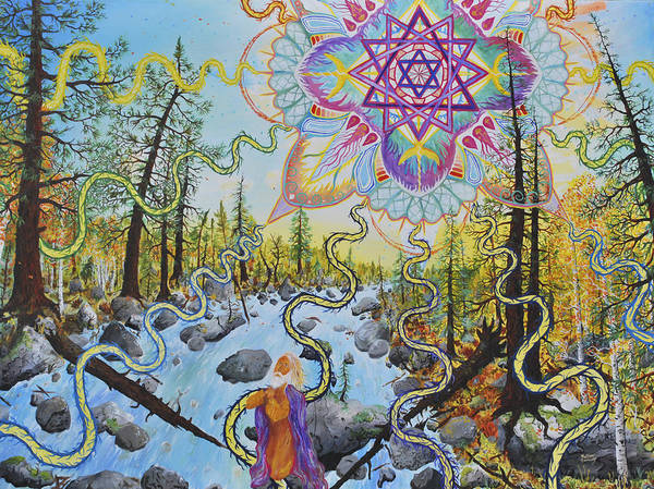 Psychedelic Poster featuring the painting Seven Times Seventy by Matthew Fredricey