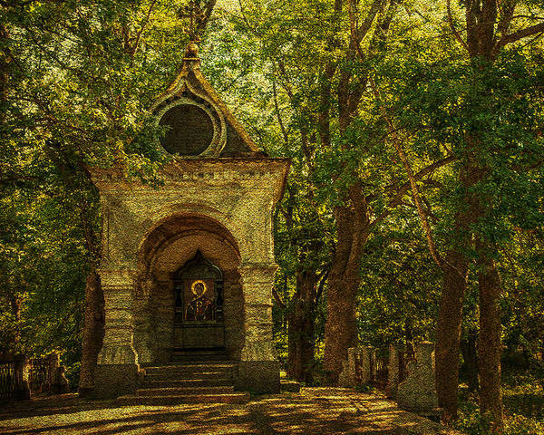 Chapel Poster featuring the photograph Shaded Chapel. Golden Green Series by Jenny Rainbow