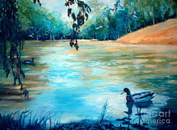 Mallard Poster featuring the painting Shady Springs Pond by Gretchen Allen