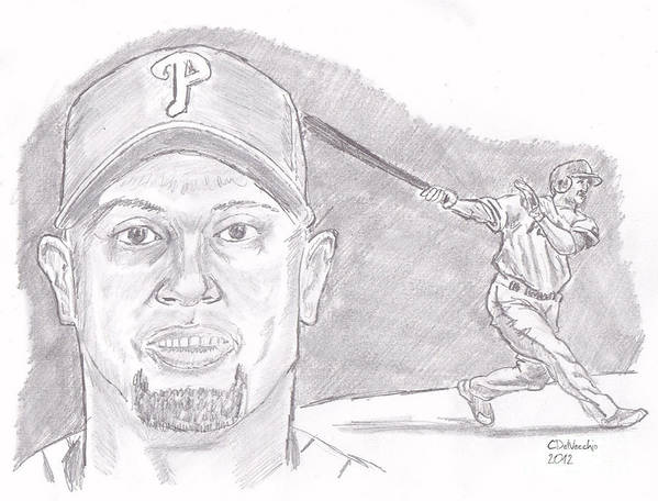 Phillies Poster featuring the drawing Shane Victorino- Flying Hawaiian by Chris DelVecchio