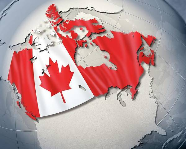 Horizontal Poster featuring the digital art Shape And Ensign Of Canada On A Globe by Dieter Spannknebel