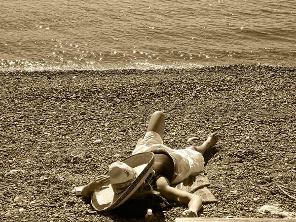 Girl Lays On The Beach With Sombero Hat Poster featuring the photograph She Siestas In The Sun by Kym Backland